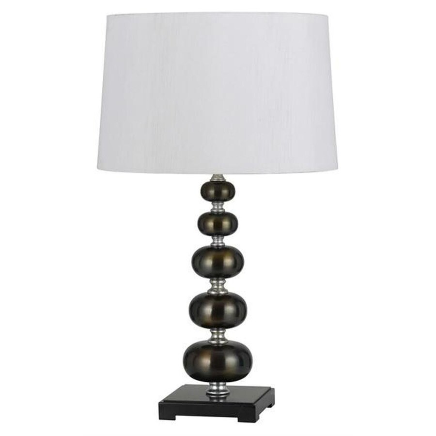 13-in Metallic Bronze Electrical Outlet 3-Way Switch Table Lamp with Fabric Shade