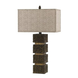 20 In Dark Rattan Electrical Outlet 3 Way Switch Table Lamp With Fabric  Shade
