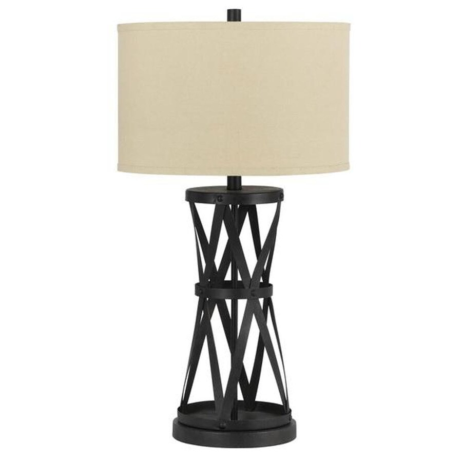 Axis 25-in 3-Way Dark Iron Indoor Table Lamp with Fabric Shade