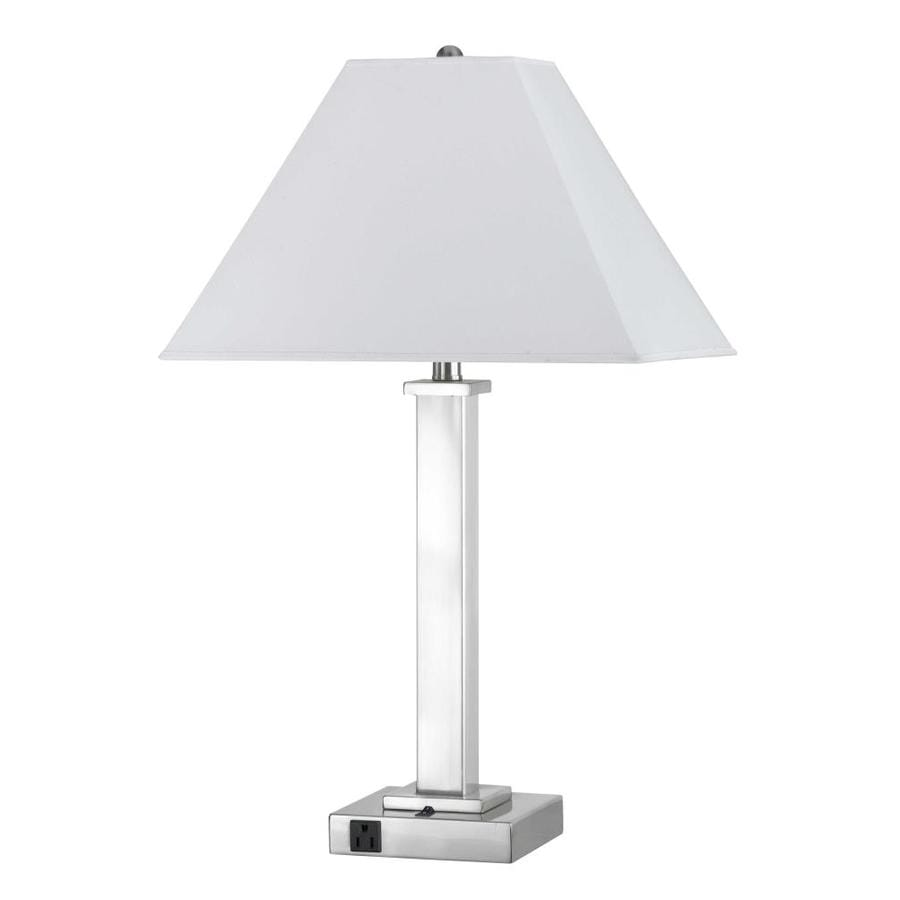 19-in Brushed Steel Electrical Outlet 3-Way Switch Table Lamp with Fabric Shade