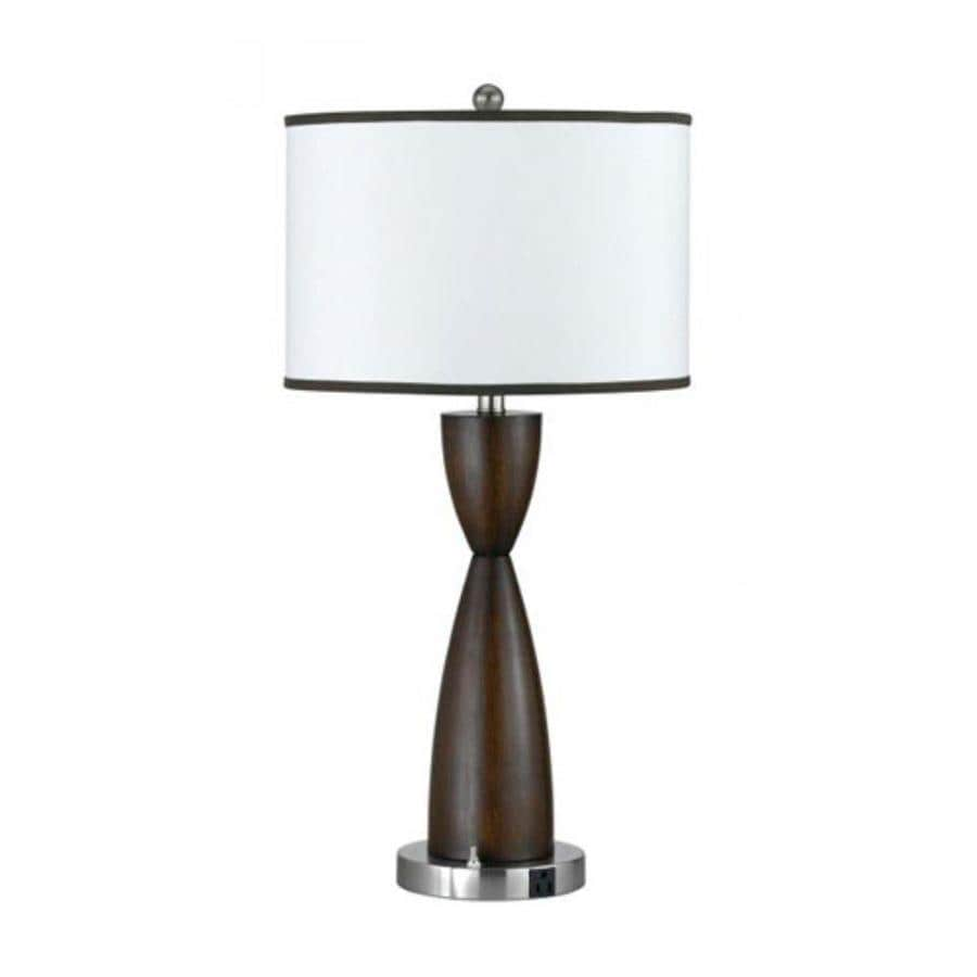 Axis 1 Light 30 in. Brushed steel Incandescent Table Lamp with Fabric Shade