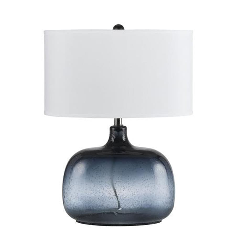 Axis 20-in 3-Way Bubbled Blue Indoor Table Lamp with Fabric Shade