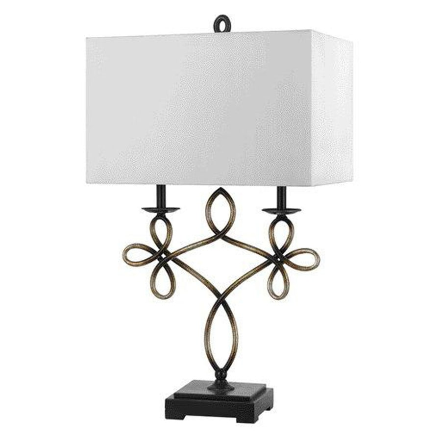 17-in Patina Electrical Outlet 3-Way Switch Table Lamp with Fabric Shade