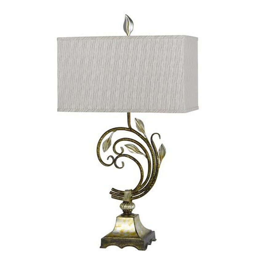 Axis 23-in 3-Way Antique Gold Leaf Indoor Table Lamp with Fabric Shade