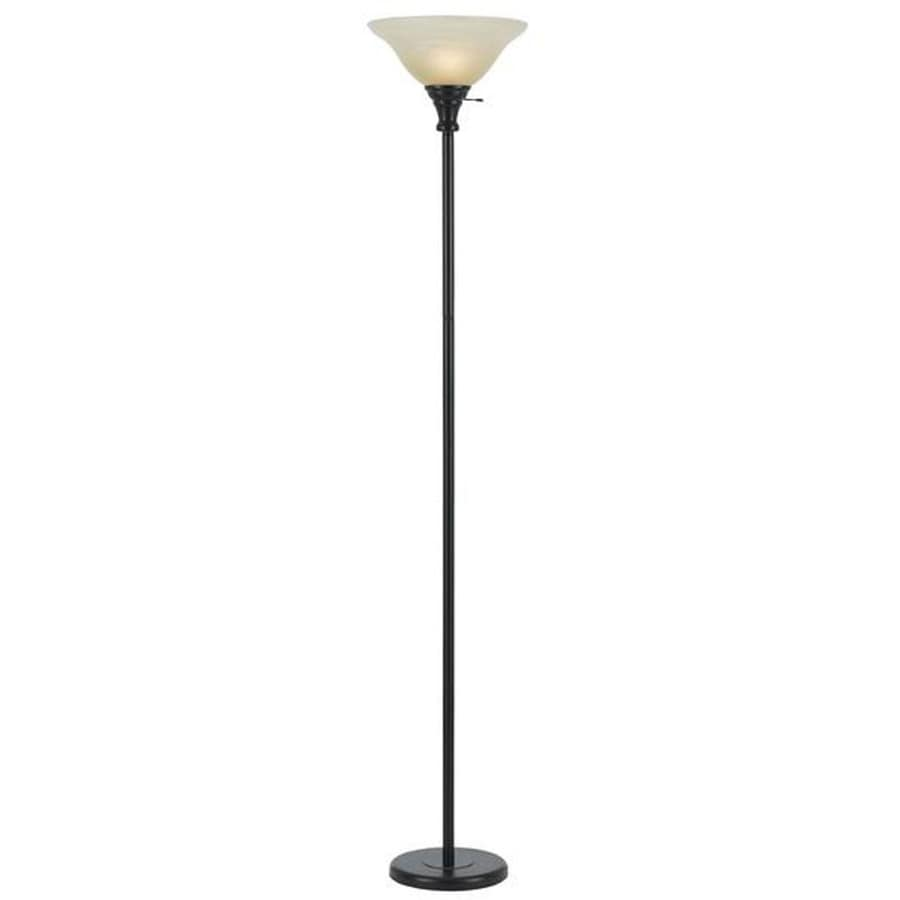 Axis 71-in Three-Way Dark Bronze Casual/Transitional Standard Torchiere Indoor Floor Lamp with Glass Shade
