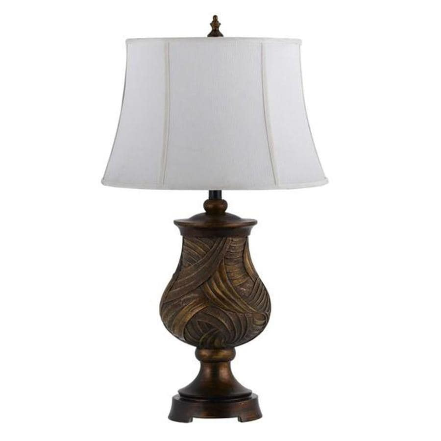 Axis 1 Light 16 in. Patina Incandescent Table Lamp with Fabric Shade