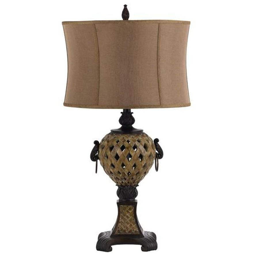 19-in Soil Electrical Outlet 3-Way Switch Table Lamp with Fabric Shade