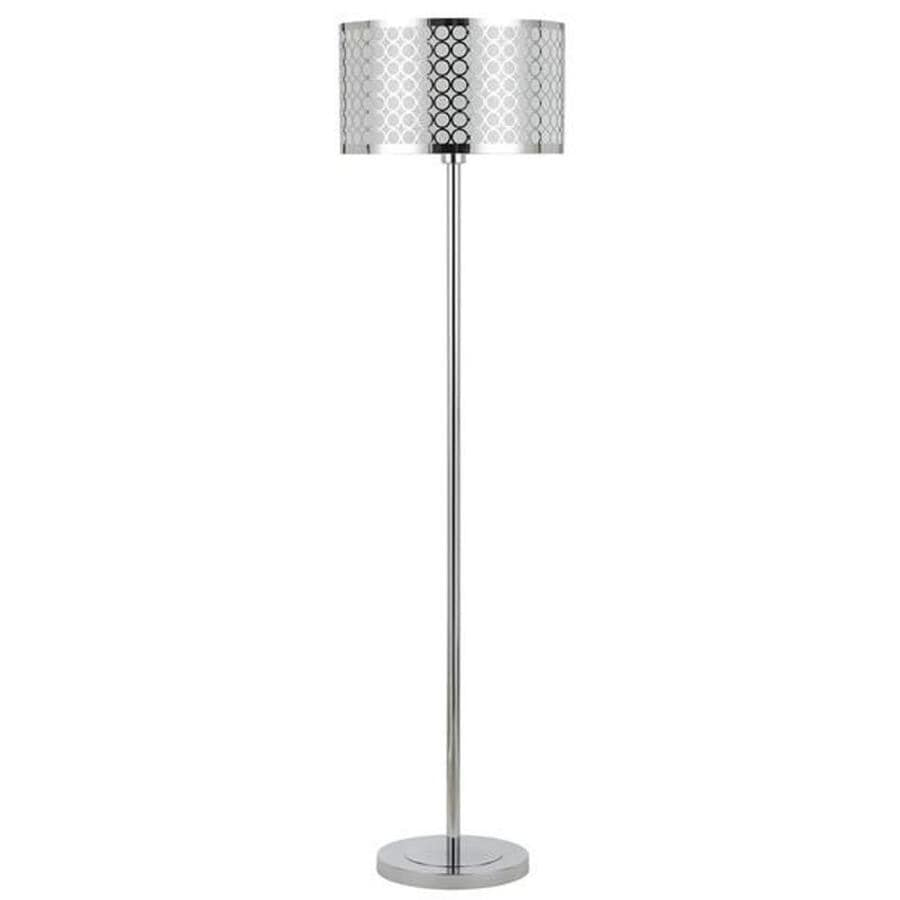 Axis 1 Light 82 in. Chrome Incandescent Floor Lamp with Fabric Shade