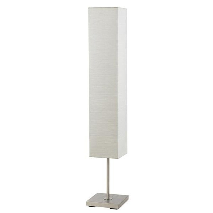 Axis 52-in 3-Way Switch Brushed Steel Torchiere Indoor Floor Lamp with Fabric Shade
