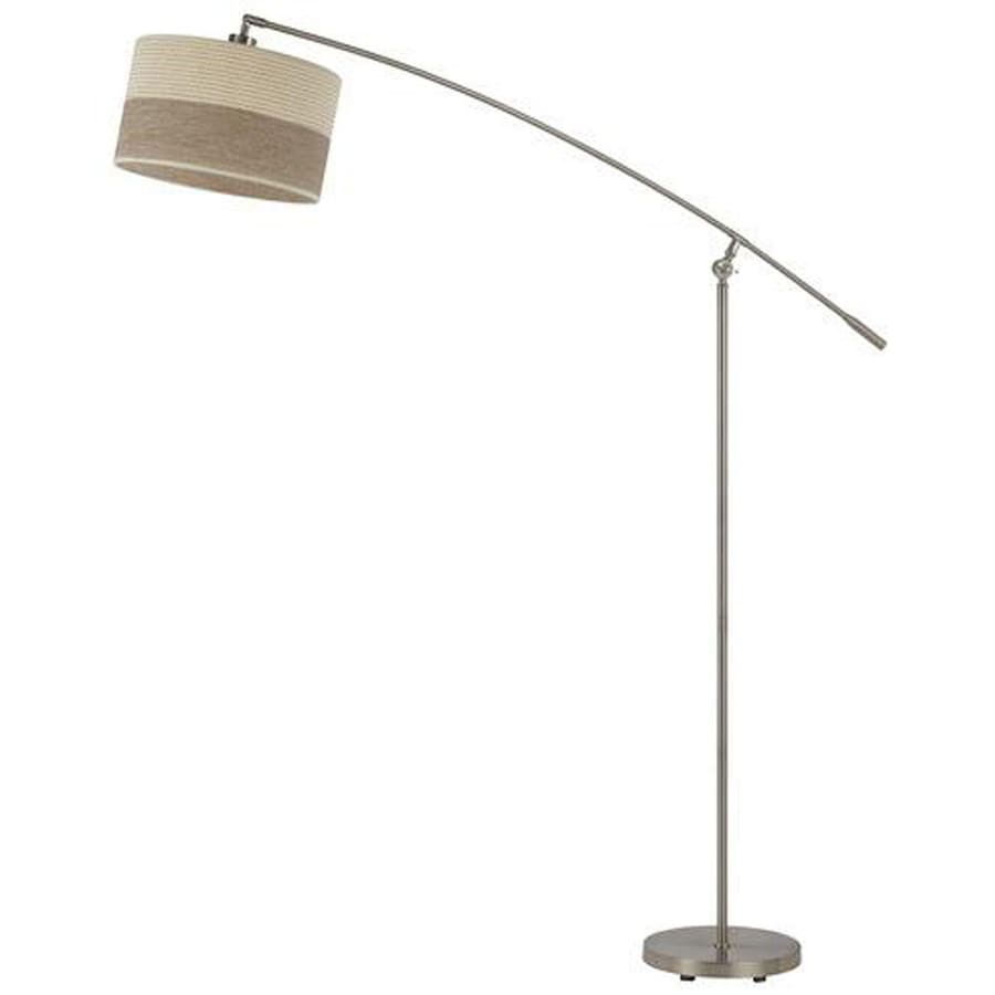 Axis 64-in 3-Way Switch Brushed Steel Torchiere Indoor Floor Lamp with Fabric Shade