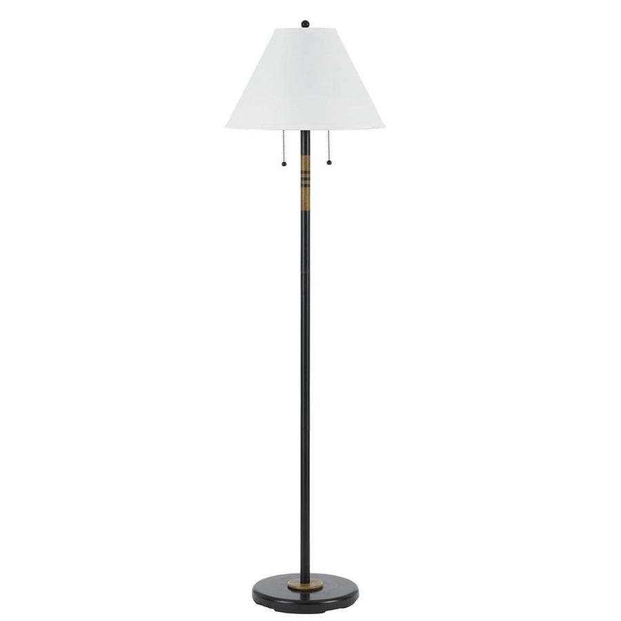 Axis 59-in 3-Way Switch Dark Bronze Torchiere Indoor Floor Lamp with Fabric Shade