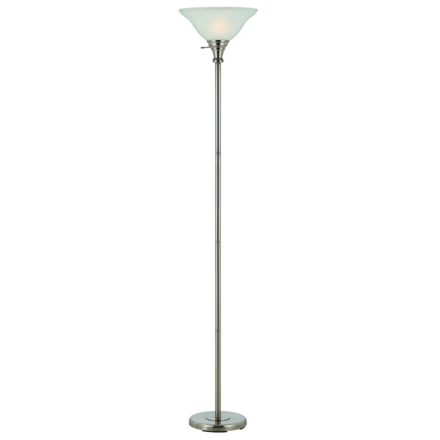 Axis 21-in 3-Way Switch Brushed Steel Torchiere Indoor Floor Lamp with Glass Shade