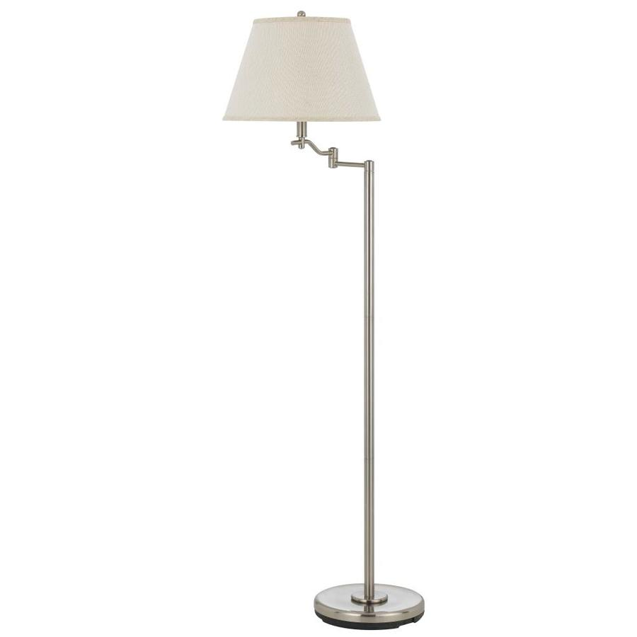 Axis 60-in 3-Way Switch Brushed Steel Torchiere Indoor Floor Lamp with Fabric Shade