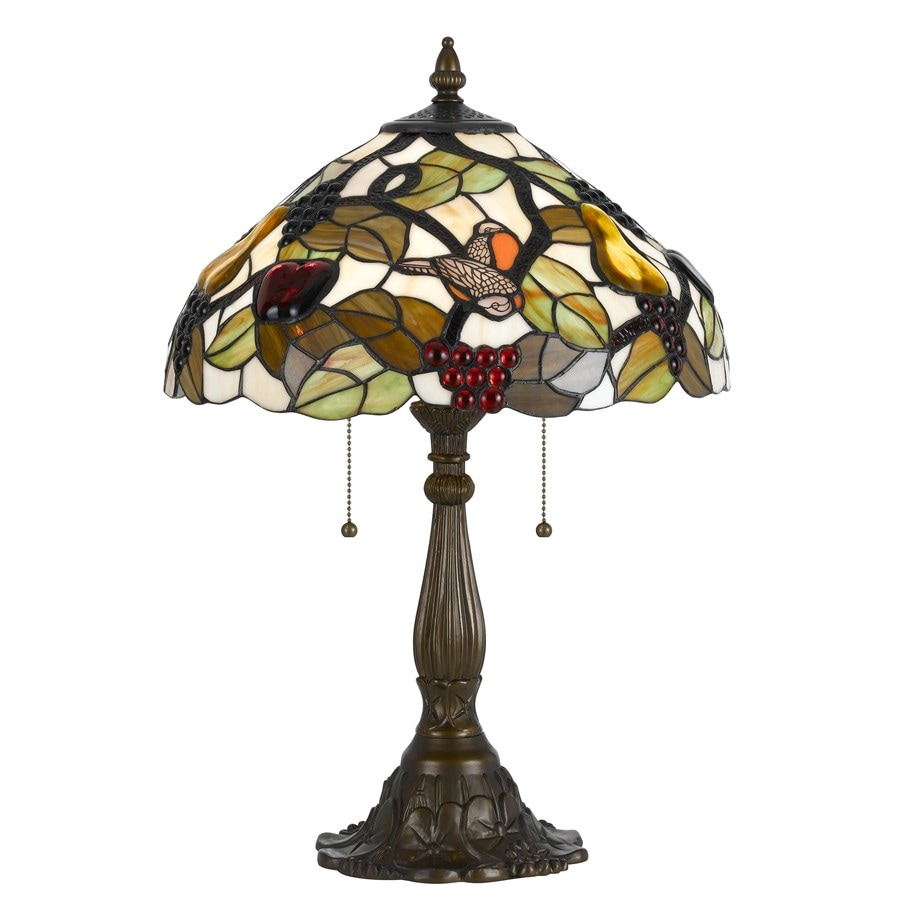 Axis 23.5-in 3-Way Dark Bronze Indoor Table Lamp with Glass Shade