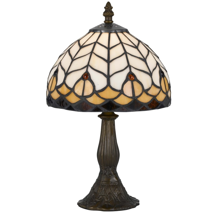 Axis 13.5-in 3-Way Antique Brass Indoor Table Lamp with Glass Shade