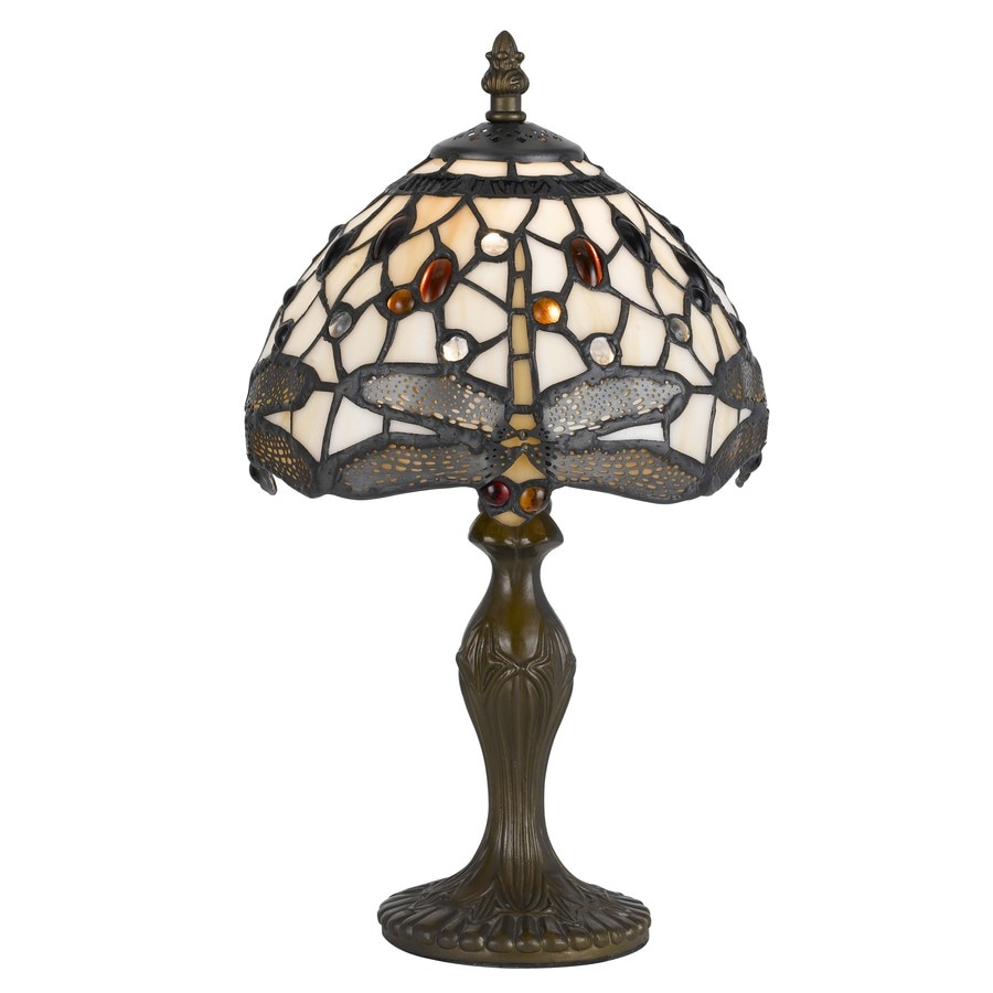 Axis 14-in 3-Way Antique Brass Indoor Table Lamp with Glass Shade