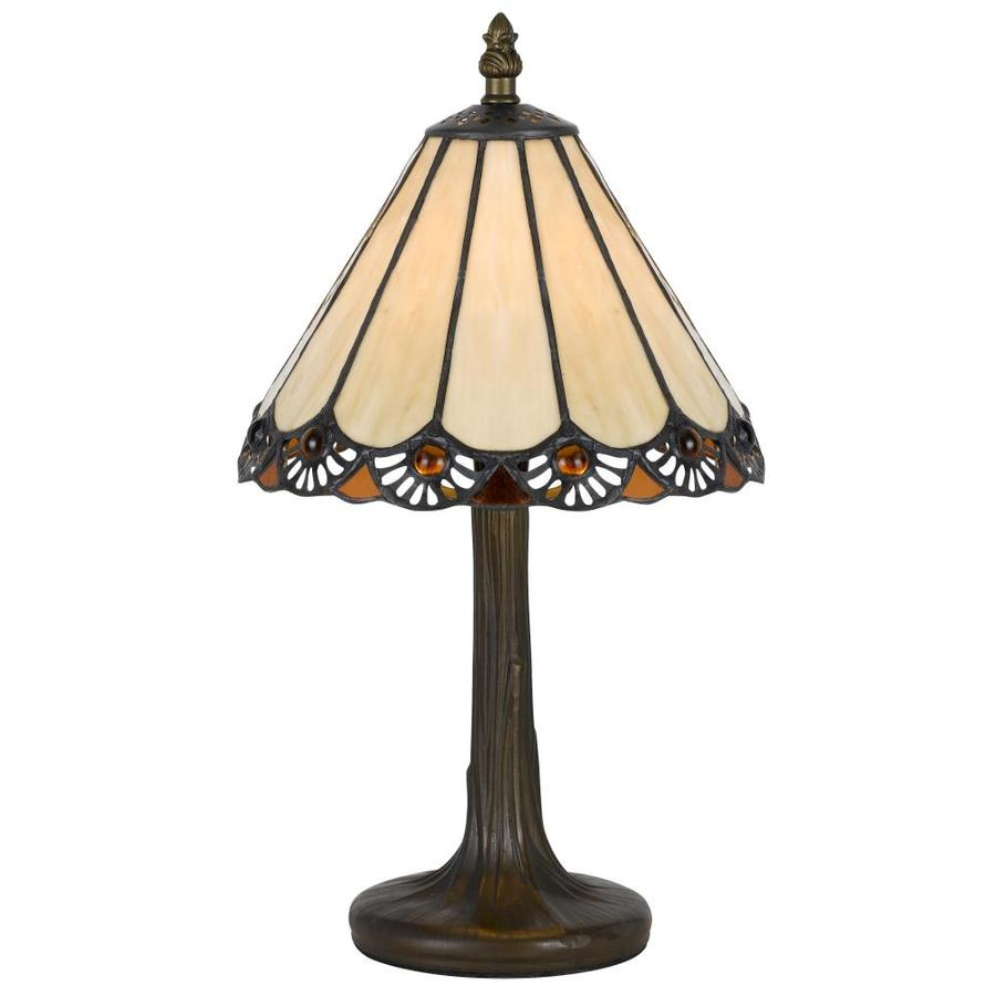 13.5-in Antique Brass Electrical Outlet 3-Way Switch Table Lamp with Glass Shade