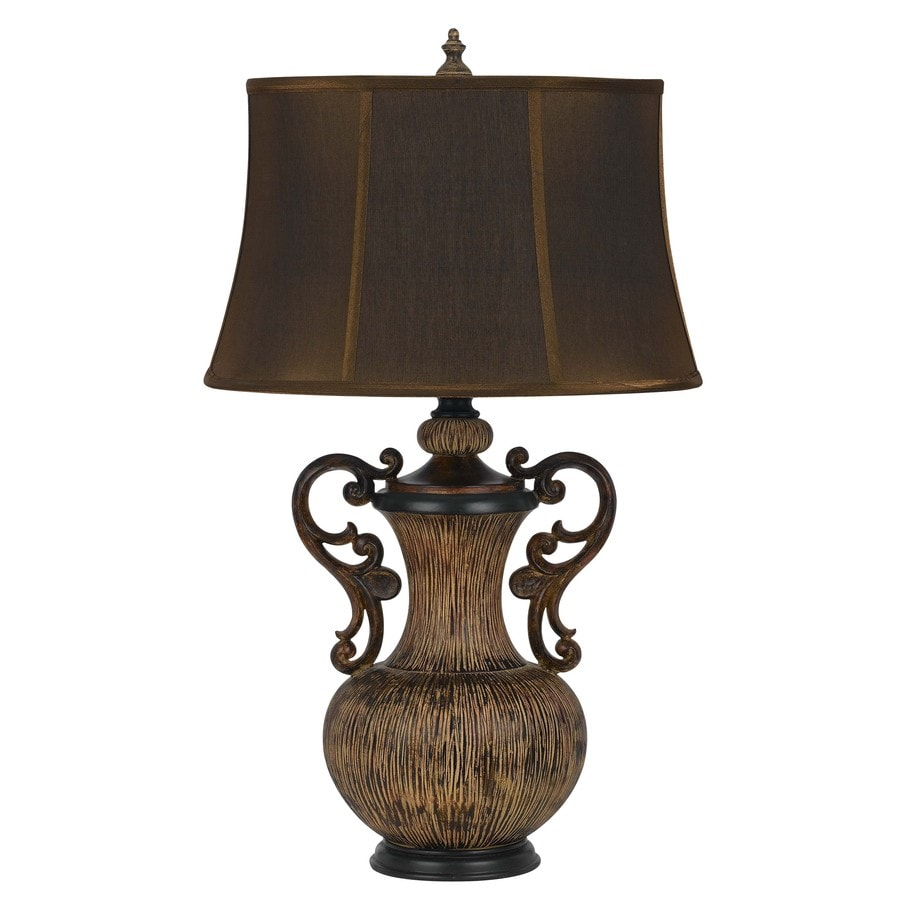 Axis 29.25-in 3-Way Teak Indoor Table Lamp with Fabric Shade