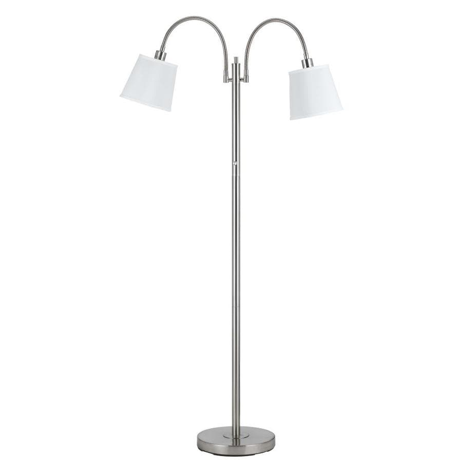 Axis 65-in Brushed Steel 3-Way Multi-Head Floor Lamp with Glass Shade
