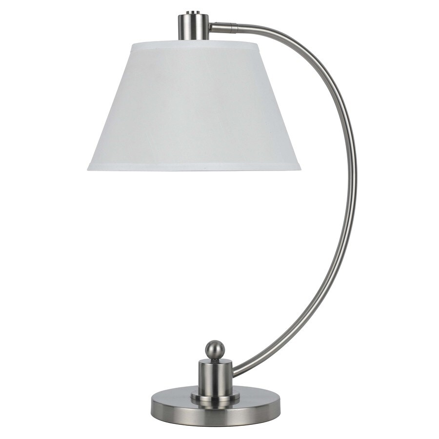 Axis 23-in 3-Way Brushed Steel Indoor Table Lamp with Fabric Shade