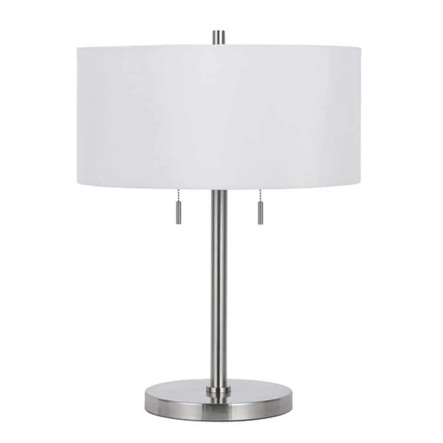 Axis 23.5-in 3-Way Brushed Steel Indoor Table Lamp with Fabric Shade