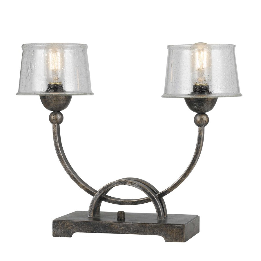 Axis 15-in 3-Way Aged Iron Indoor Table Lamp with Glass Shade