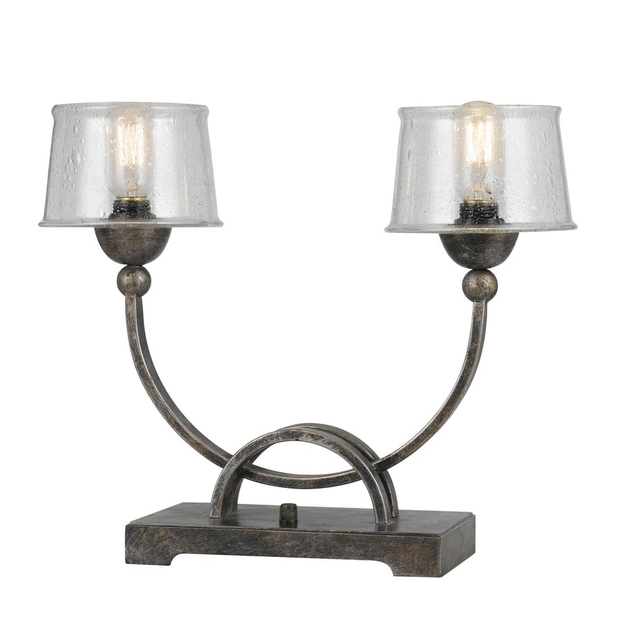 15-in Aged Iron Electrical Outlet 3-Way Switch Table Lamp with Glass Shade
