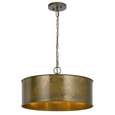 Cal Lighting Rochefort 3 Light Distressed Gold Transitional Drum Chandelier In The Chandeliers Department At Lowes Com