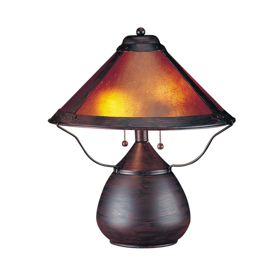 17-in Rust Electrical Outlet 3-Way Switch Table Lamp with Glass Shade