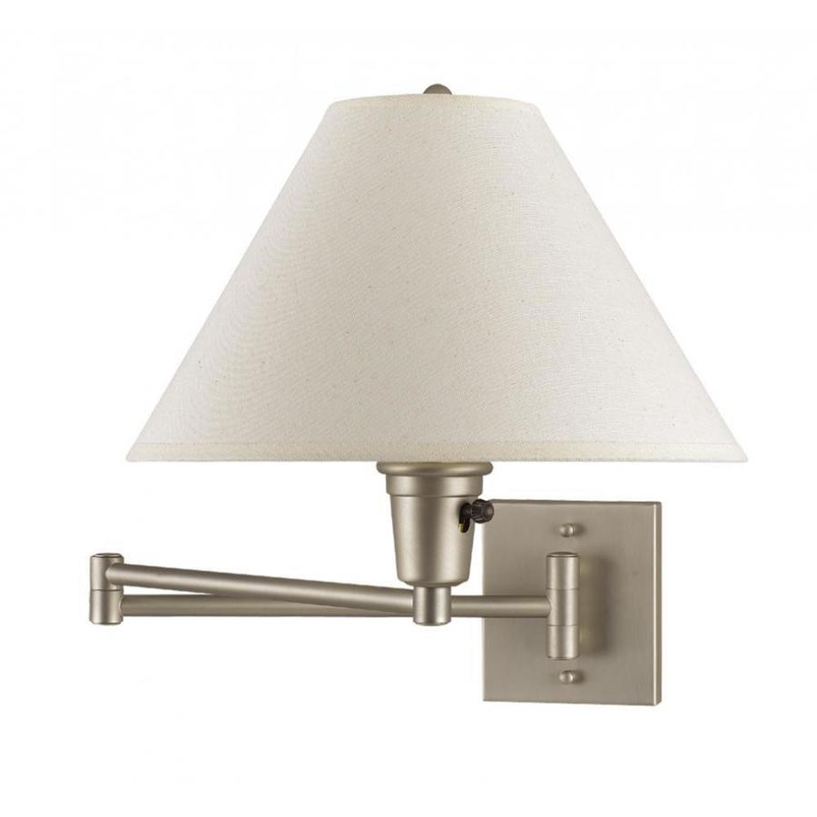 Wall Lamps For Pictures : Shop 10-in H Steel Swing-Arm Contemporary/Modern Wall-Mounted Lamp with Fabric Shade at Lowes.com