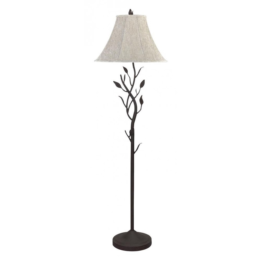 Axis 64-in 3-Way Switch Black Torchiere Indoor Floor Lamp with Fabric Shade