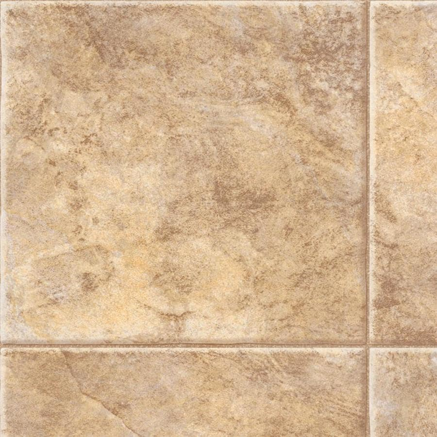 Congoleum AirStep Plus Starlight 12-ft W x Cut-to-Length Oasis Beige Tile Low-Gloss Finish Sheet Vinyl
