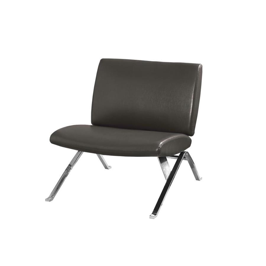 Monarch Specialties Modern Charcoal Faux Leather Accent