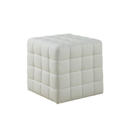 Amazing Monarch Specialties Modern White Faux Leather Square Ottoman Camellatalisay Diy Chair Ideas Camellatalisaycom