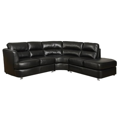 Excellent Monarch Specialties Modern Black Faux Leather Sectional At Uwap Interior Chair Design Uwaporg