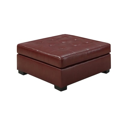 Stupendous Monarch Specialties Casual Red Faux Leather Square Ottoman Camellatalisay Diy Chair Ideas Camellatalisaycom