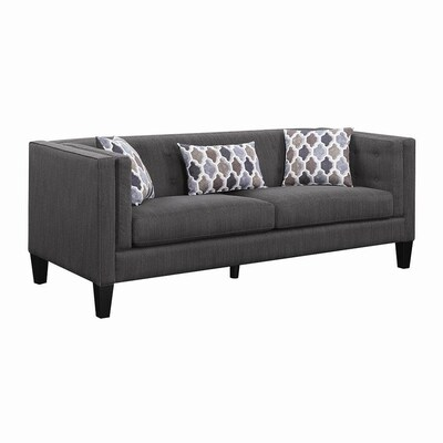 Scott Living Sawyer Industrial Dusty Blue Sofa at Lowes.com