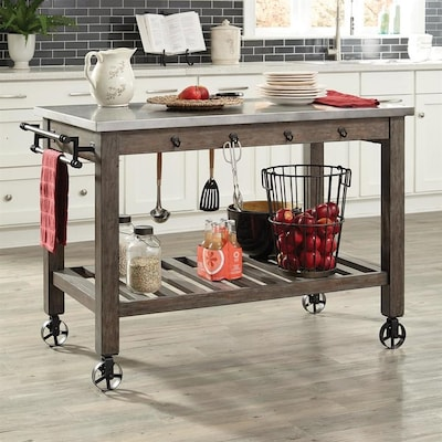 Scott Living Brown Industrial Kitchen Island At Lowes Com