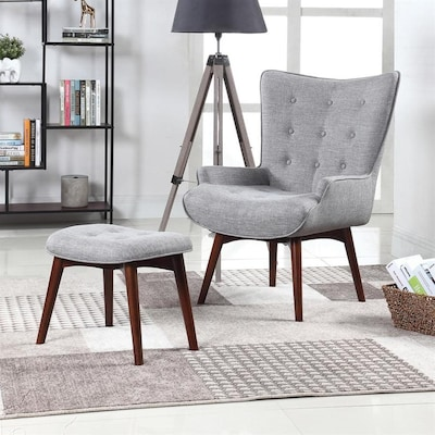 Cool Scott Living Accents Midcentury Grey Accent Chair At Lowes Com Andrewgaddart Wooden Chair Designs For Living Room Andrewgaddartcom