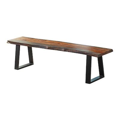 Brilliant Scott Living Gray Sheesham Live Edge Dining Bench At Lowes Com Machost Co Dining Chair Design Ideas Machostcouk
