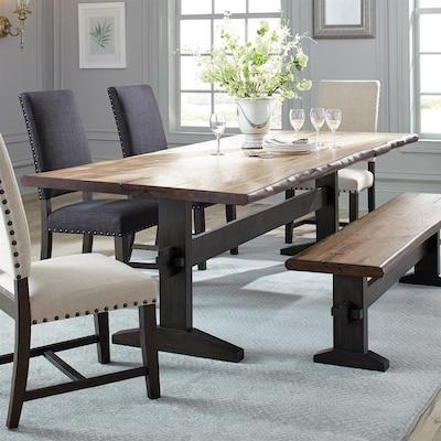Burnham Natural Honey Wood Live Edge Dining Table