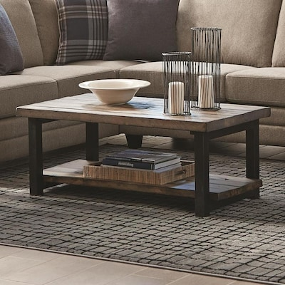 Scott Living Work Rustic Brown Wood Veneer Coffee Table