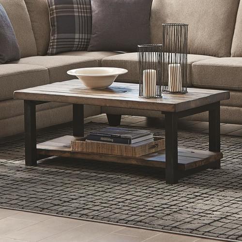 Scott Living Workshop Rustic Brown Wood Veneer Coffee Table
