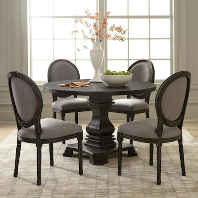 Dayton Antique Black Composite Round Dining Table
