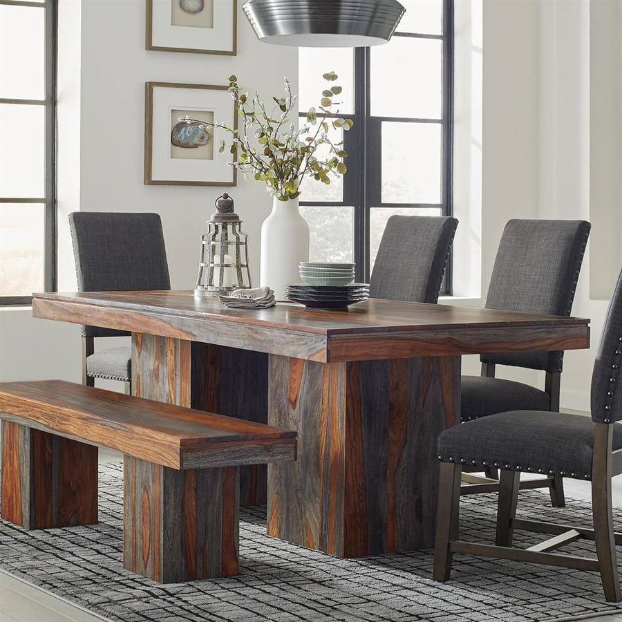Wooden Dining Room Benches: Scott Living Binghamton Grey Sheesham Wood Dining Table At