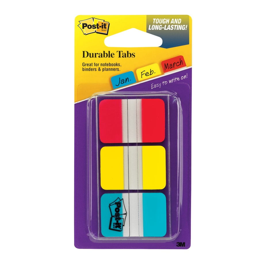 Post-it 1-in x 1.5-in Red/Yellow/Black Durable Post Tabs