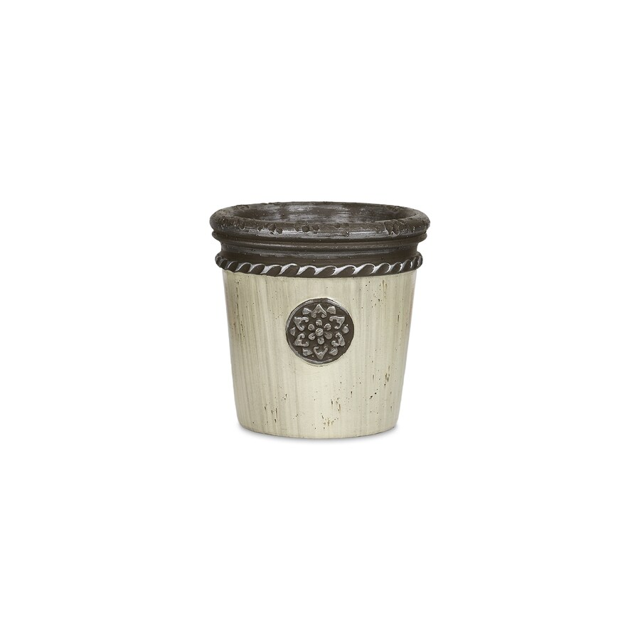 Pennington 8-in x 5-in Cream Concrete Roman Planter