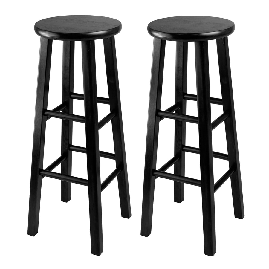 Winsome Wood Pacey Set Of 2 Black Bar Height Bar Stool In The Bar Stools Department At Lowes Com