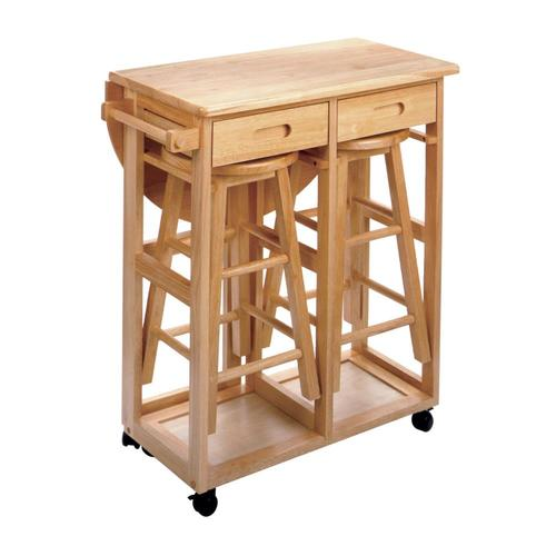 Save E With This Handy Kitchen Cart And Two Stools Set Features A Beautiful Teak Finish Will Give You More Than Enough In Your