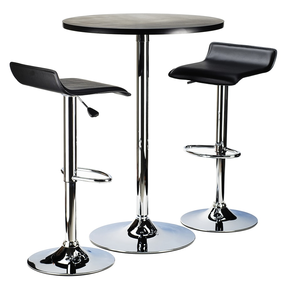 Winsome Wood Spectrum Black Metal Dining Set With Round Bar Table